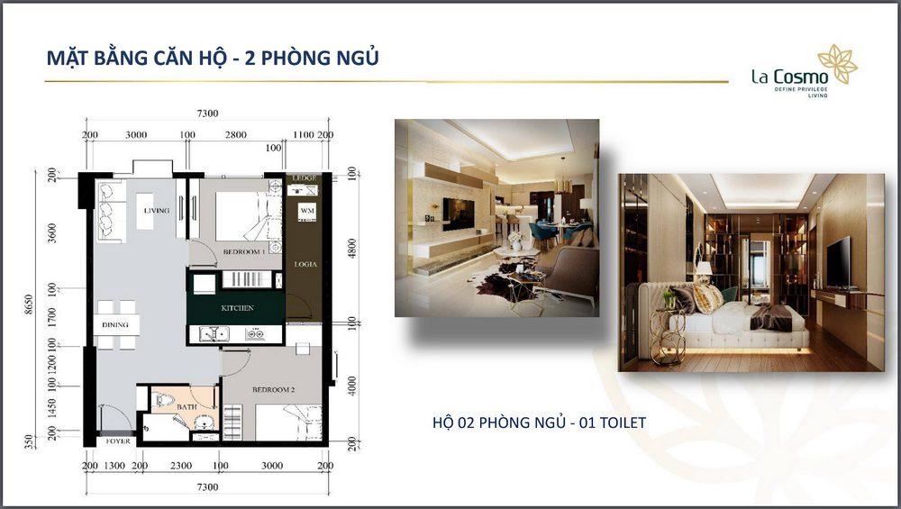 Thiết kế 2 phòng ngủ 1 wc