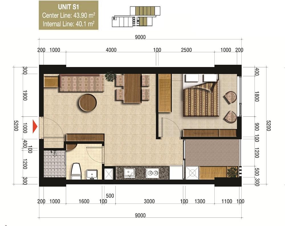 Thiết kế officetel loại 44m2