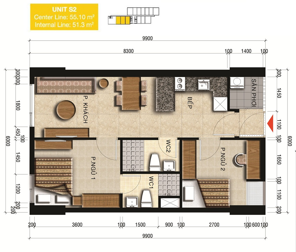 Thiết kế officetel loại 51m2