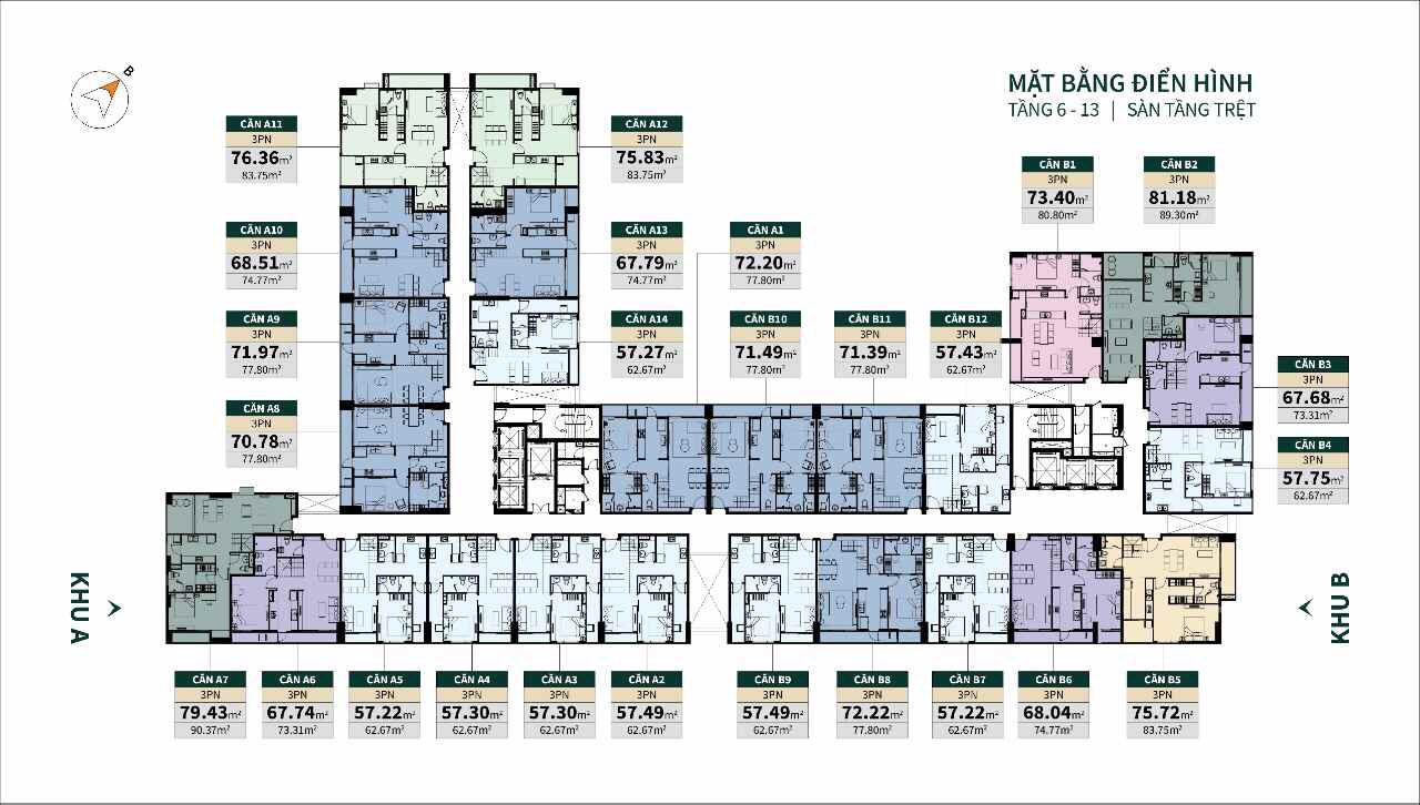 Mặt bằng căn hộ gác lửng, tầng trệt 6-13