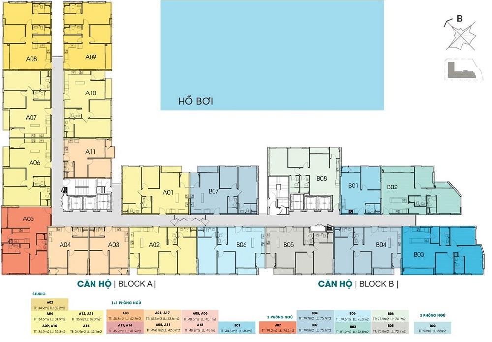 Mặt bằng tầng 8 - 21 chung cư Thủ Thiêm Dragon Quận 2